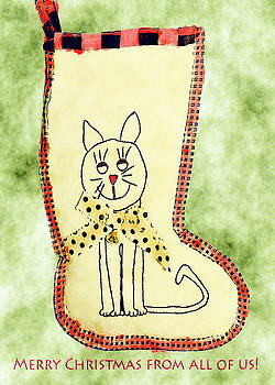 Cat Christmas Stocking Card by Susan Leggett