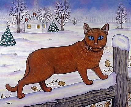 Linda Mears - Cat in Christmas Landscape
