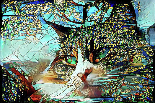 Cat in the Trees Abstract by Peggy Collins