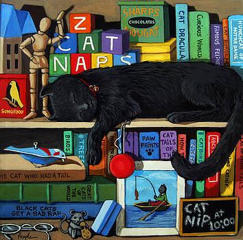 Cat Nap - orginal black cat painting by Linda Apple