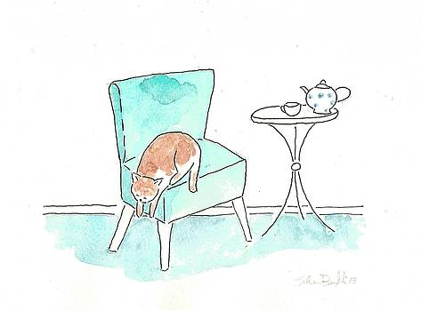 Cat On The Blue Chair by Silvia Beneforti