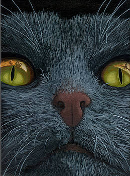 Cat Vision - black cat oil painting by Linda Apple