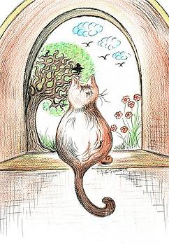 Cat watching the Crow Birds by Teresa White