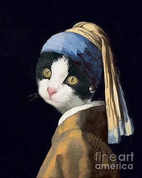 Delphimages Photo Creations - Cat with a pearl earring