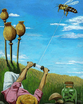 Catchin' a Buzz - fantasy oil painting by Linda Apple