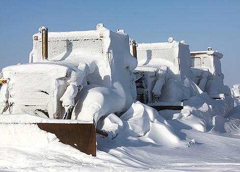 Caterpiller Bulldozer Snowed in Alaska by Sam Amato