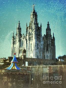 Cathedral and Carousel of Barcelona by Hilary England