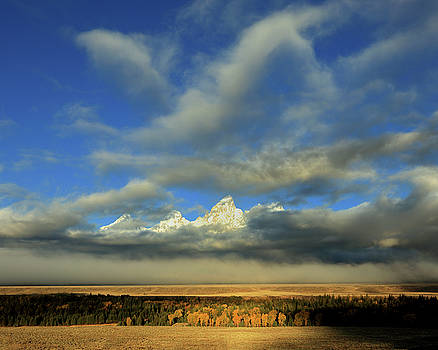 Cathedral Group and Fog, Teton County, WY by Troy Montemayor