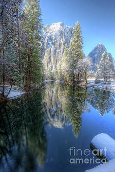 Cathedral Rocks From El Capitan Bridge Winter Yosemite National Park by Wayne Moran