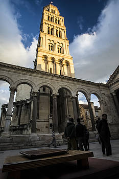 Cathedral Tower in Spilt, Croatia at sunset by Sven Brogren