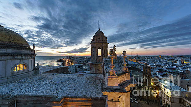 Cathedral View From Levante Tower Cadiz Spain by Pablo Avanzini