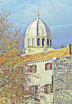 Cathedral With Tangerine Shutters by Ann Johndro-Collins