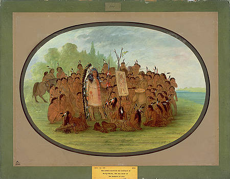 Catlin Painting The Portrait Of Mah-To-Toh-Pa-Mandan by George Catlin