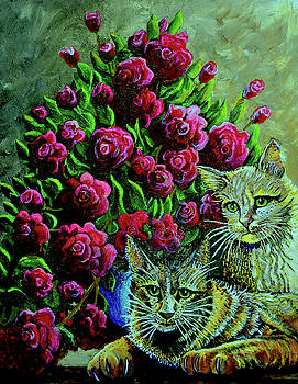 Cats and Roses by Bob Crawford