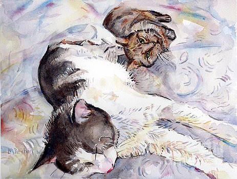 Cats In Watercolor by Maria's Watercolor