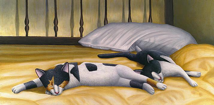 Cats Sleeping on Big Bed by Carol Wilson