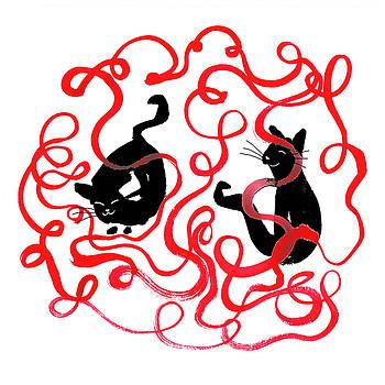 Cats with Yarn by Heidi Hanson