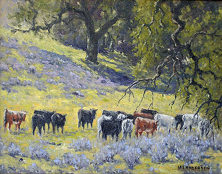 Cattle Among Oaks by Marv Anderson