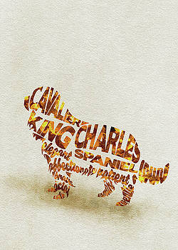 Cavalier King Charles Spaniel Watercolor Painting / Typographic Art by Ayse and Deniz