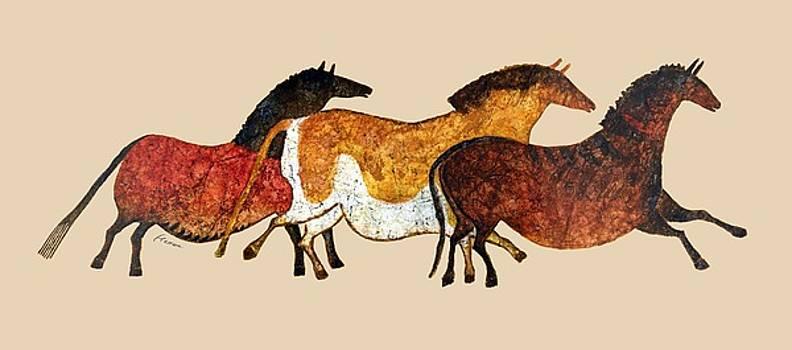 Hailey E Herrera - Cave Horses in Beige