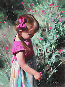 Cecelia with Dianthus Blooms by Anna Rose Bain