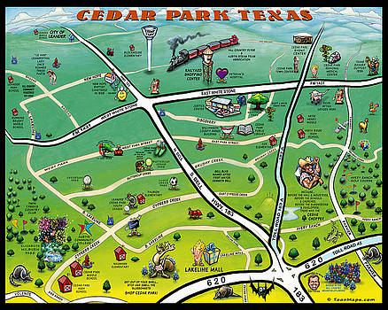 Cedar Park Texas Cartoon Map by Kevin Middleton