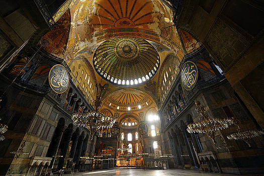 Reimar Gaertner - Ceiling domes in an empty Hagia Sophia Istanbul with chandeliers