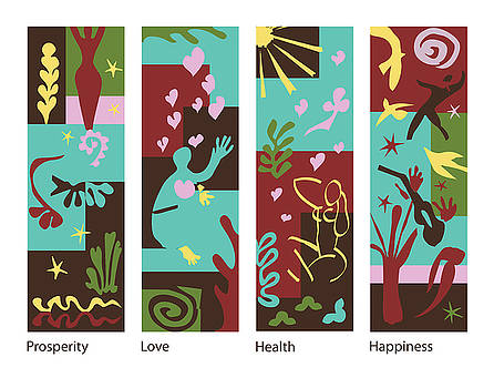 Xueling Zou - Celebrate Life 4 panels