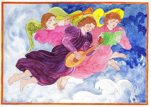 Celestial Musical Angels Serenade with Lute Horn and Song by Catinka Knoth
