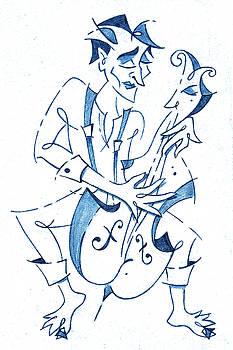 Arte Venezia - Cellist Music Player- Sketchbook Blue Pencil Drawing