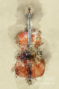 Cello watercolor by Delphimages Photo Creations