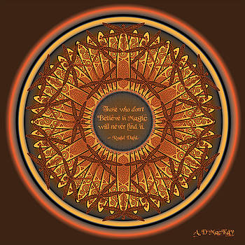 Celtic Dragonfly Mandala in Orange and Brown by Celtic Artist Angela Dawn MacKay