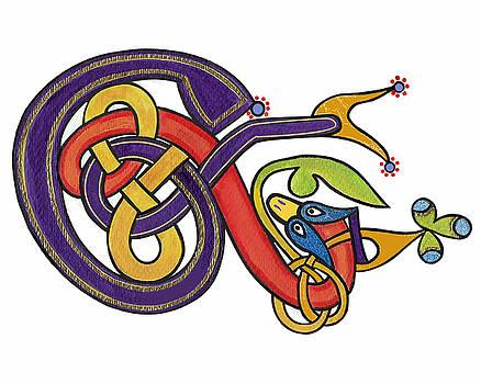 Celtic E Fom Book of Kells by Frances Gillotti