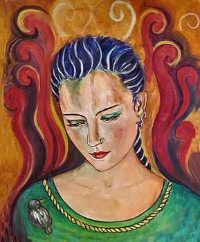 Celtic Girl and Bird by Frances Gillotti