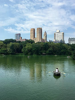 Central Park Lake with Row Boat by Kathleen Anderle
