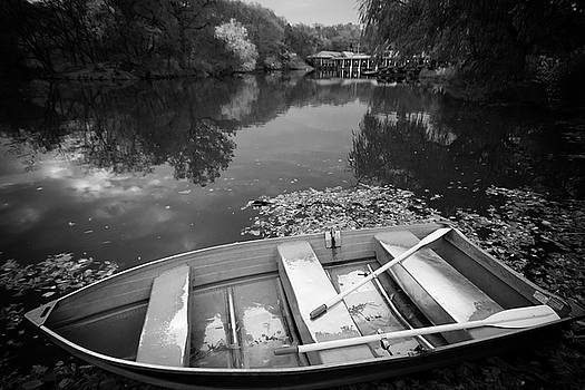 Central Park Rowboat Black and White Version by Dave Beckerman