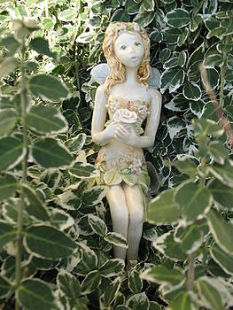 Ceramic Fairy In Ivy by Theresa LaBrecque