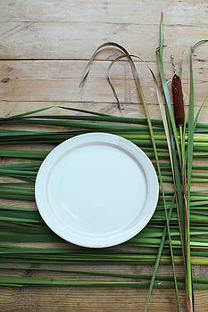 Ceramic Plate with Cattail and Rushes by Natalie Schorr