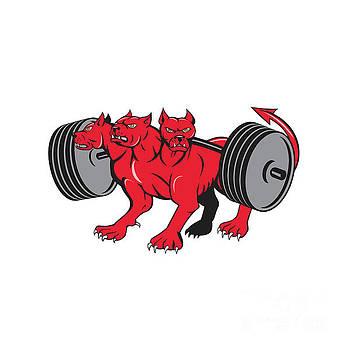 Cerberus Multi-headed Dog Hellhound Powerlifting Barbell Cartoon by Aloysius Patrimonio