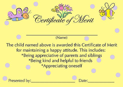 Certificate of Merit for Good Attitude by Sally Huss