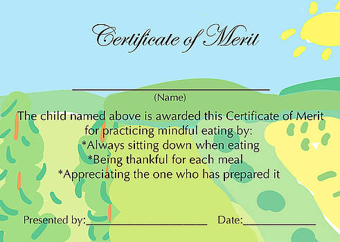 Certificate of Merit for Mindful Eating by Sally Huss