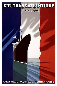 C.G. Transatlantique vintage travel poster by Tom Prendergast