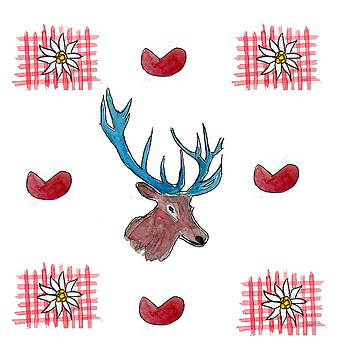 Chalet Style Decoration with Heart, Deer and Edelweiss by M Bleichner