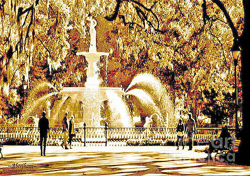 Champagne Twilight Forsyth Park Fountain in Savannah Georgia USA  by Aberjhani