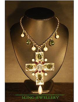 Chanel Style Cross Crystal and Pearl Drop Necklace by Janine Antulov