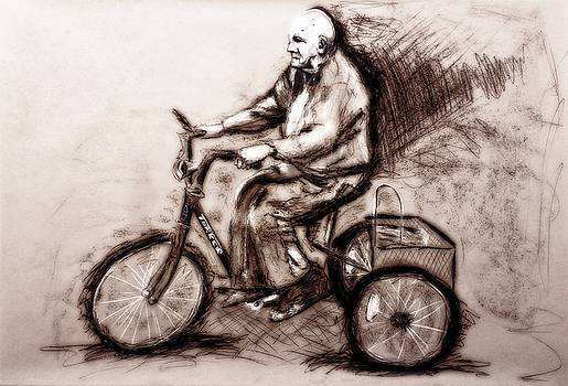 Charcoal Drawing of Pedal to the Metal by Ayasha Loya by Ayasha Loya