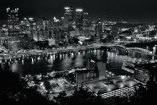 Charcoal Night Lights in Pittsburgh by Frozen in Time Fine Art Photography