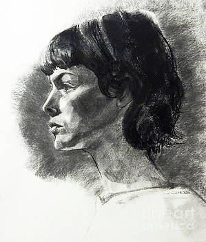 Charcoal Portrait of a Pensive Young Woman in Profile by Greta Corens