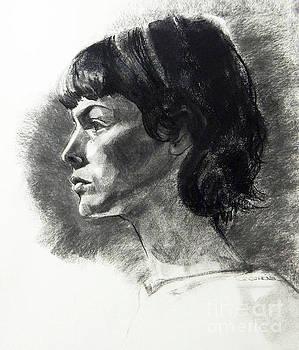 Charcoal Portrait of a Pensive Woman in Profile by Greta Corens