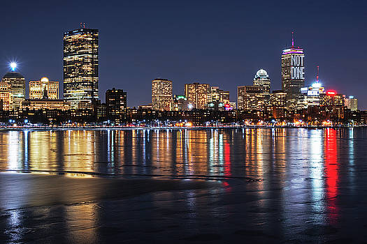 Charles River Boston MA Prudential lit up Not Done New England Patriots by Toby McGuire